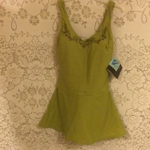 ShapeFX Swimsuit w/Beaded Neck olive Green Sz4 NWT